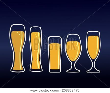 Glass glass filled with light beer, isolated on dark background, for the brewery logo or design of the beer party