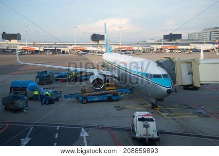 AMSTERDAM, NETHERLANDS - SEPTEMBER 17, 2017: Passenger Boeing 737 of KLM airline is preparing to fly to Schiphol airport