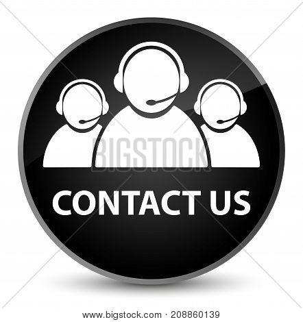 Contact Us (customer Care Team Icon) Elegant Black Round Button