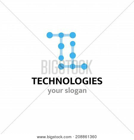 Vector logo template for technology or communications companies high-tech innovation.Two letters T consisting of molecules.