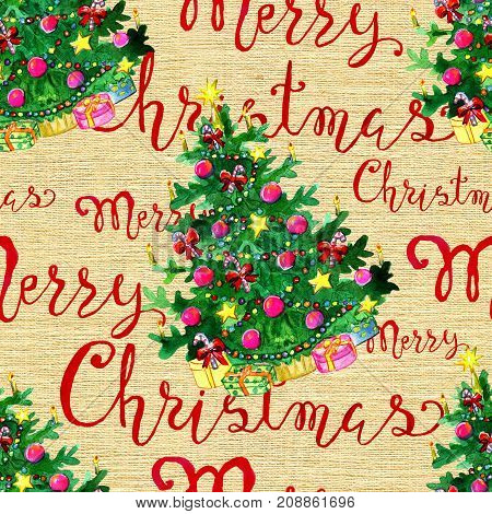 Seamless background with Christmas conifer and holiday lettering on texture. New Year and Christmas holiday vintage pattern, watercolor and graphic hand drawn illustration with lettering