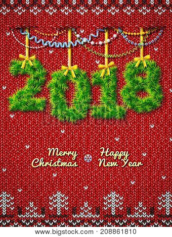 New Year 2018 of twigs as christmas decoration. Christmas congratulation against knitted background. Vector illustration for new years day christmas winter holiday