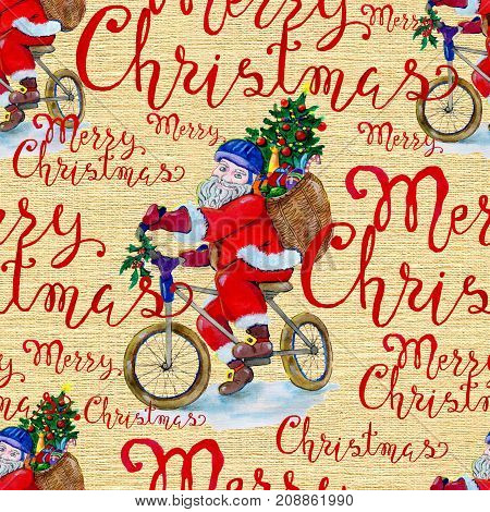 Christmas seamless background with Santa Claus on bicycle and lettering. New Year and Christmas holiday vintage pattern, watercolor and graphic hand drawn illustration with lettering