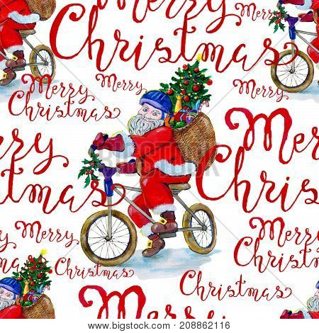 Christmas background with Santa on bike and lettering on white. New Year and Christmas holiday vintage pattern, watercolor and graphic hand drawn illustration with lettering