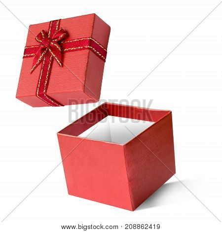 Red gift box isolated on white background Happy new year & christmas holiday Boxing day sale concept