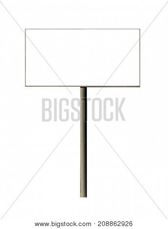 Blank billboard for outdoor advertising isolated on white background. Blank white mockup  poster.Template for advertising