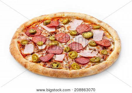 Delicious Fresh Pizza With Salami, Bacon And Pepperoni On A Lush Dough On A White Background. Fresh