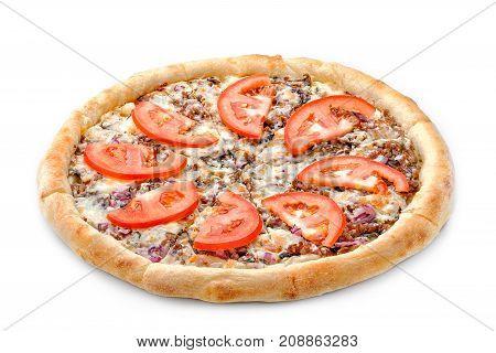 Delicious Fresh Pizza On A Lush Dough On A White Background. Fresh Italian Pizza Classic Original Wi