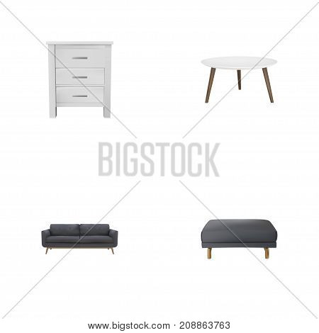 Realistic Lounge, Footstool, Commode And Other Vector Elements
