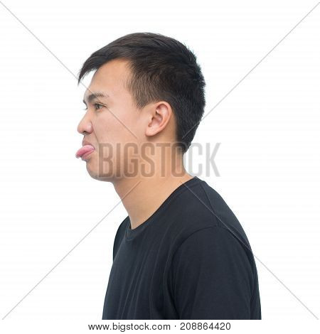 Happy young man. Portrait of handsome young man in black shirt and smiling while standing isolated on white background with clipping path. envious and insult emotions concept