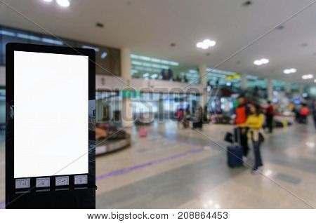 mock up blank advertising billboard with copy space for your text message or media and content at airport commercial marketing and advertising concept