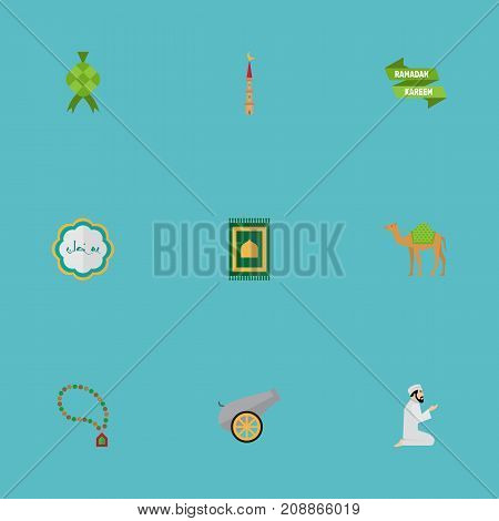 Flat Icons Ramadan Kareem, Praying Man, Dromedary And Other Vector Elements