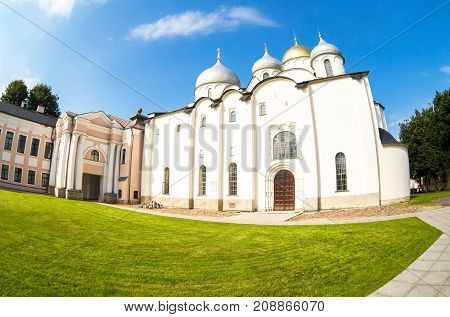 Veliky Novgorod Russia - August 17 2017: Russian orthodox St. Sophia Cathedral in Veliky Novgorod Russia. Cathedral was founded in 1050