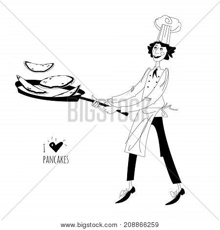 Junior chef. Boy tosses pancakes in large frying pan. Happy Pancake Day! Black and white. Vector illustration