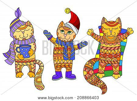 Illustration with funny cartoon cats dressed in different seasons autumn winter and summer isolated on white background