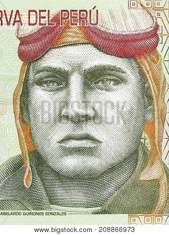 Jose Quinones Gonzales portrait from Peruvian money