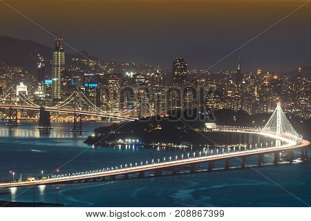 San Francisco at Night. Grizzly Peak, Berkeley Hills, Alameda and Contra Costa Counties, California, USA.