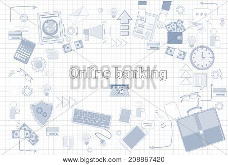 Social Media Communication Internet Network Connection Over City Skyscraper View Cityscape Squared Background Vector Illustration