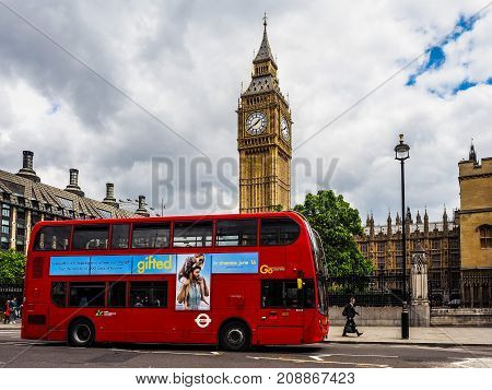 Red Bus In London, Hdr