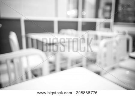 Blurred Background Of Restaurant With Bokeh Light,black And White