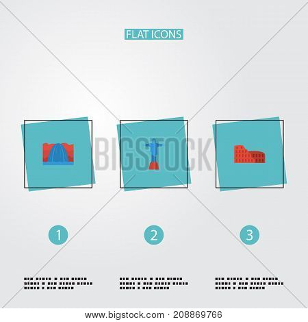 Flat Icons Coliseum, Waterfall, Rio And Other Vector Elements