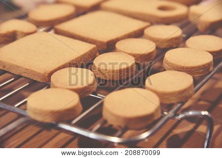 Close up cookies on tray in the Oven.