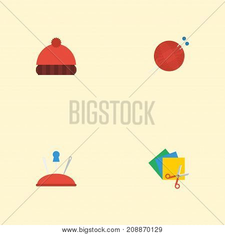 Flat Icons Pincushion, Scissors, Beanie And Other Vector Elements