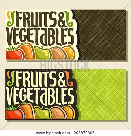 Vector banners for Fruits and Vegetables with copy space, decorative handwritten script for title text fruits & vegetables, assortment of organic fruits in a row on green vivid abstract background.