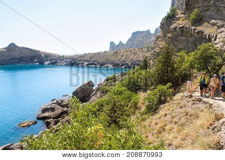 New World, Crimea - 12 July, Sea blue lagoon, 12 July, 2017. Travel along the coast along the path of Prince Golitsyn.