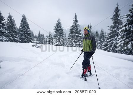 Happy Traveler, In A Snowshoes