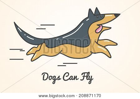 funny cute cartoon german shepherd dog running fast. Isolated vector illustration and inscription - dogs can fly -
