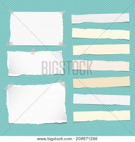 White and yellow ripped strips note, copybook, notebook paper stuck on turquoise background