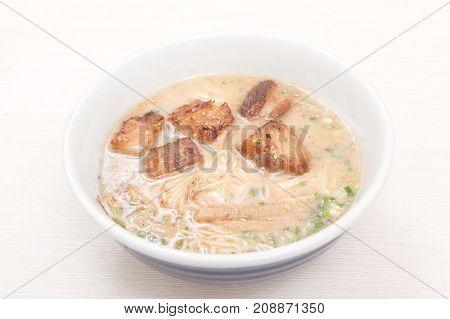 close up japanese noodle on white background