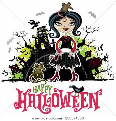 Halloween vector card. Teenage girl wearing Vampire witch celebration costume with canines and rats pets grunge design elements with texture stains Happy Halloween lettering flying ghosts bats