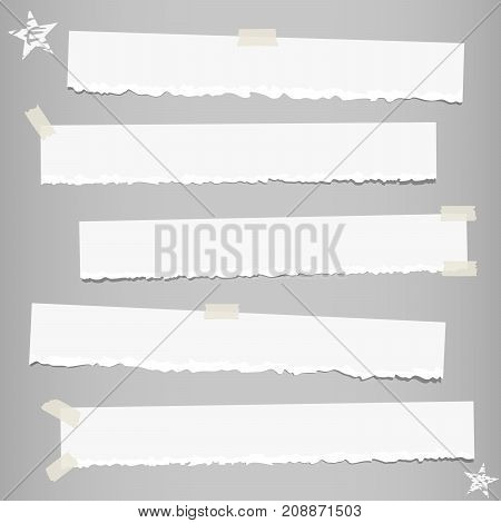 White ripped strips note, notebook paper for message or text stuck with sticky tape on gray background with stars