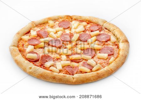 Hawaiian Pizza Isolated On White Background. Delicious Fresh Pizza With Pineapple And Sausage On A L