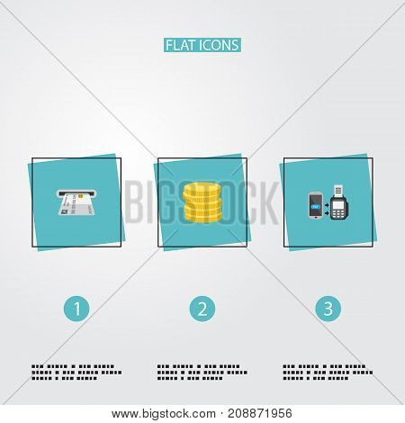 Flat Icons Small Change, Teller Machine, Remote Paying And Other Vector Elements