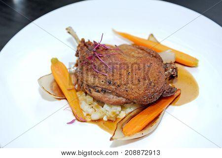 deep fried Chicken steak and vegetable for dinner