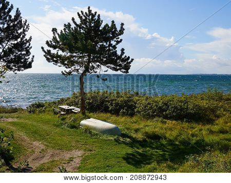 Rustic table made of wood by the sea ocean at summer vacation background image