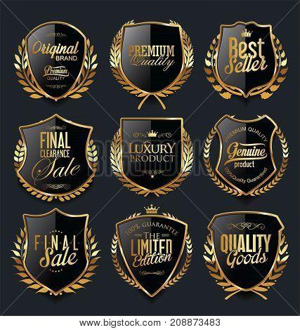 Golden Shields And Laurel Wreaths Retro Design Collection 1.eps
