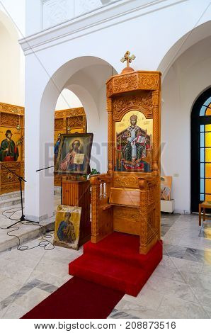 SHKODER ALBANIA - SEPTEMBER 6 2017: Interior of Orthodox Church (Church of Nativity of Christ) Shkoder Albania