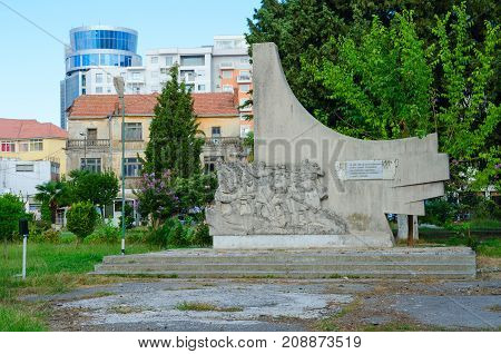 SHKODER ALBANIA - SEPTEMBER 6 2017: Monument to Albanian communist partisans Shkoder Albania