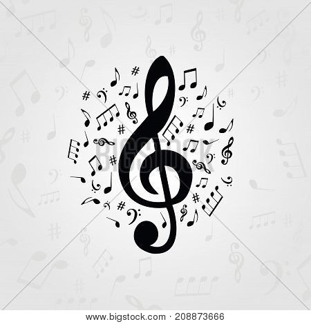 Black and white music poster with music notes. Music elements banner for card, poster, invitation. Music background design vector illustration