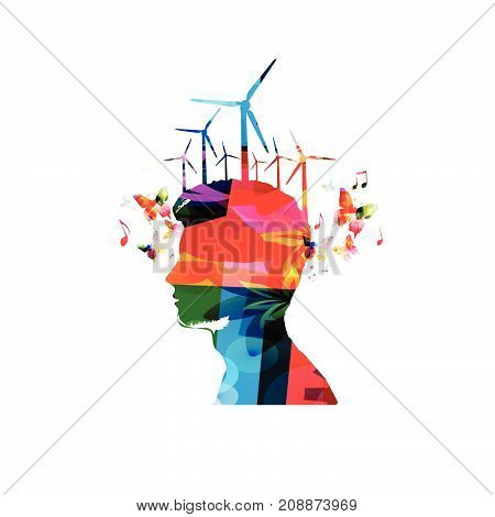 Colorful man silhouette with windmill turbines isolated. Alternative renewable green energy vector illustration design. Sustainability, environmentally friendly concept