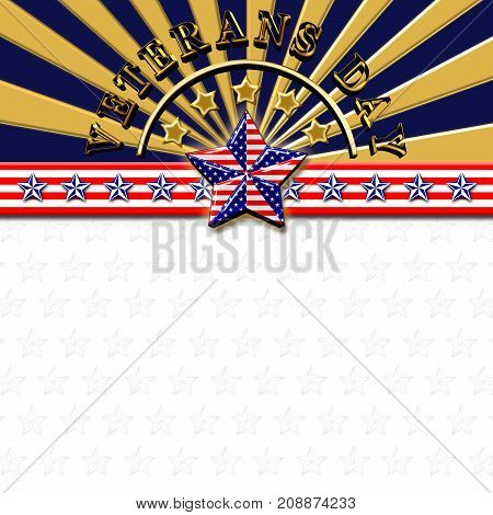 Veterans Day, 3D Illustration, Golden Stars, Honoring all who served, American holiday template.