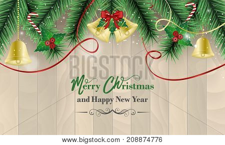 Christmas and New Year wishes with golden bells and red bow ribbons holly berry wands and bokeh effect on a wooden background. Vector illustration.