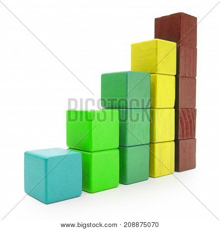 Infographics Blocks Chart Infograph Bar of Color Toy Cubes Kids Building Bricks isolated over White