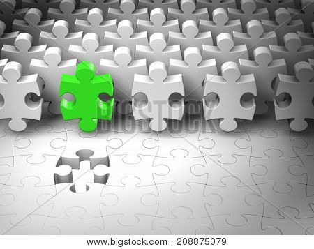 Puzzle Team Leader Abstract 3d Jigsaw Pieces Find Last Hole Cooperation Work Concept