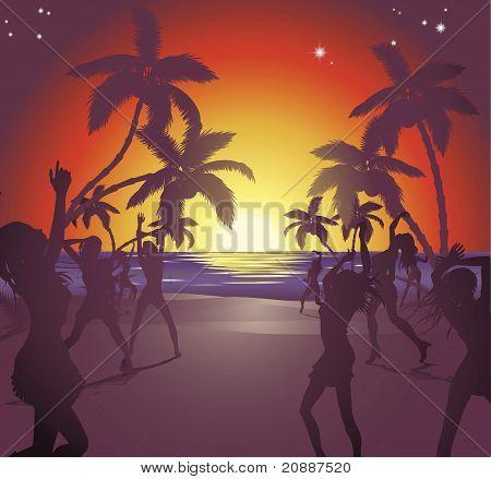 Sunset Beach Party Illustration