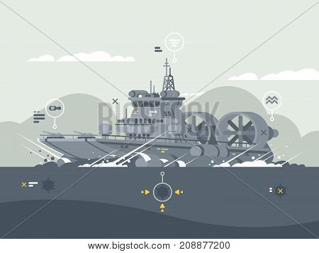 Military hovercraft armed. Vessel in open sea for combat mission. Vector illustration